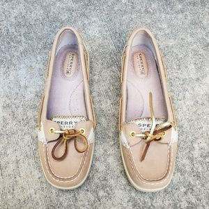 Sperry boat shoes gold trim 6
